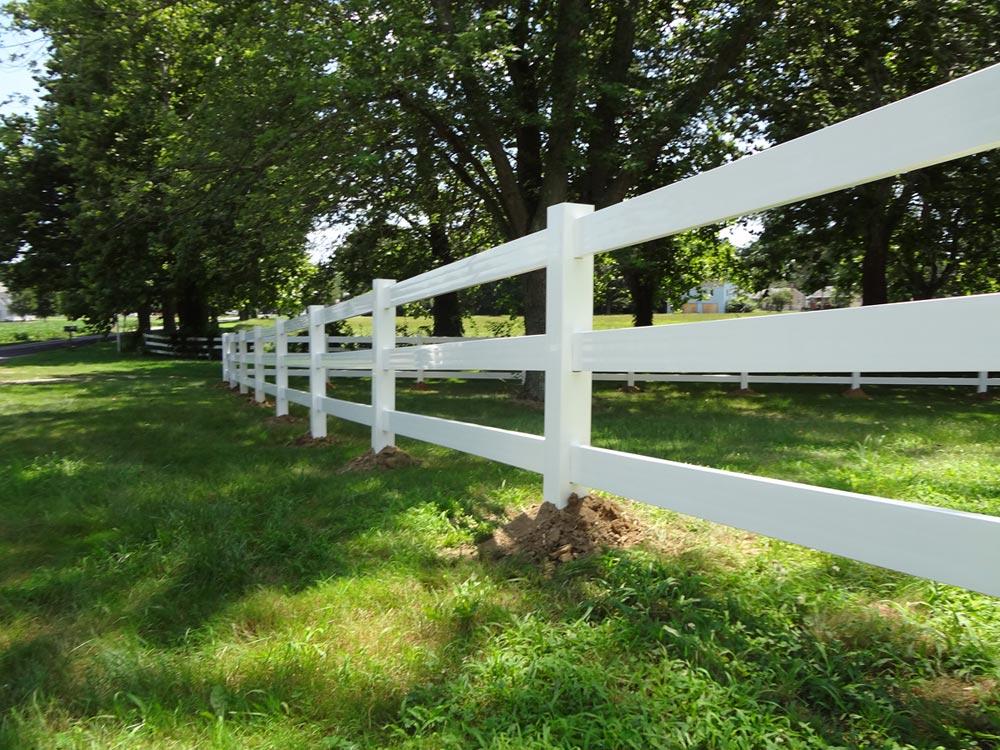 Vinyl Fence vinyl fence under trees
